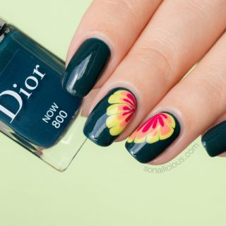 Dior Now nail polish swatch, flower nail design