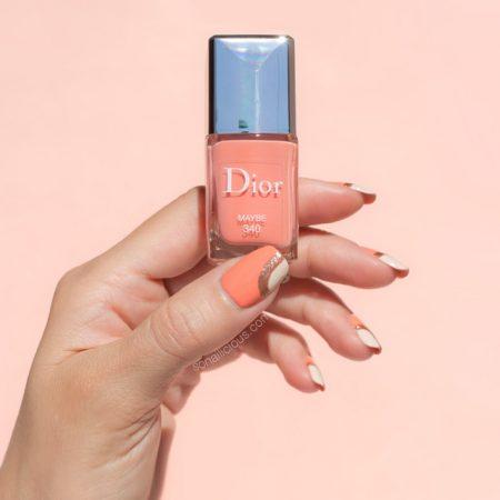 peach nail design, Dior Maybe peach nail polish