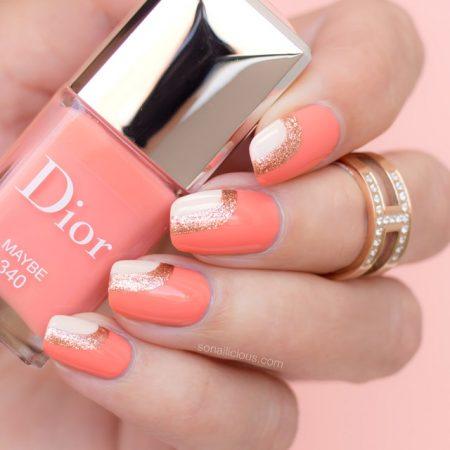 peach nail design, Dior Maybe swatch, 1