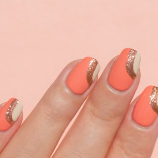 peach nail design, Dior Maybe swatch