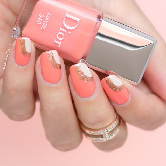 peach nail design, Dior Maybe swatches