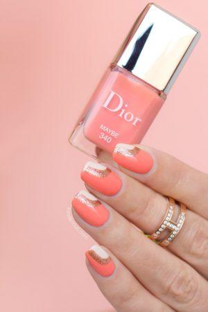 peach nails, Dior Maybe