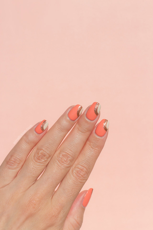 peach nails, Dior Maybe swatch