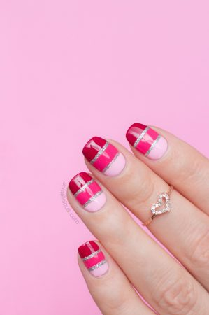 valentine's day nails, pink nails