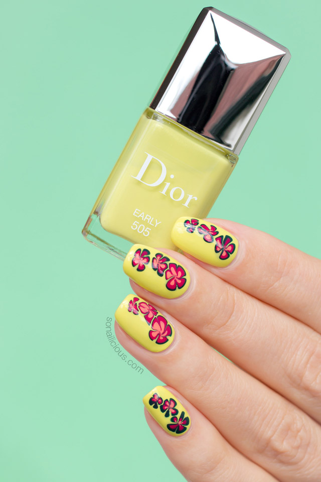 floral nail design, dior early swatches