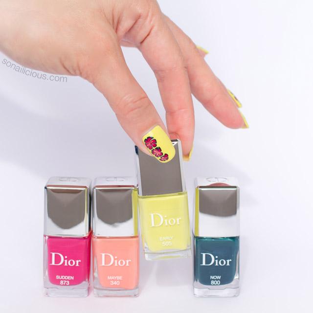 floral nail design, dior spring nail polish