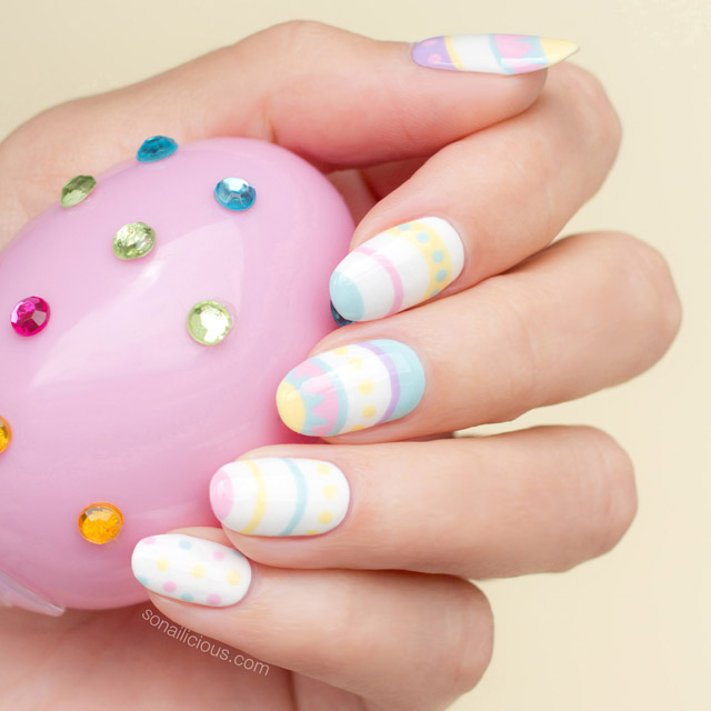 Pastel Easter nail art, easter nails