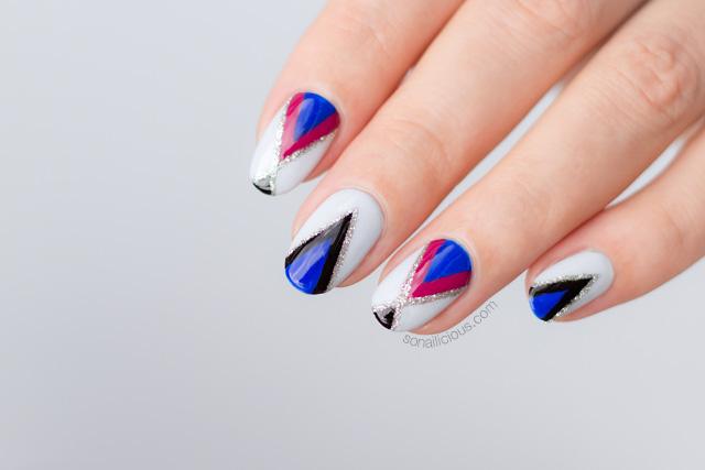freehand nail art, grey nails