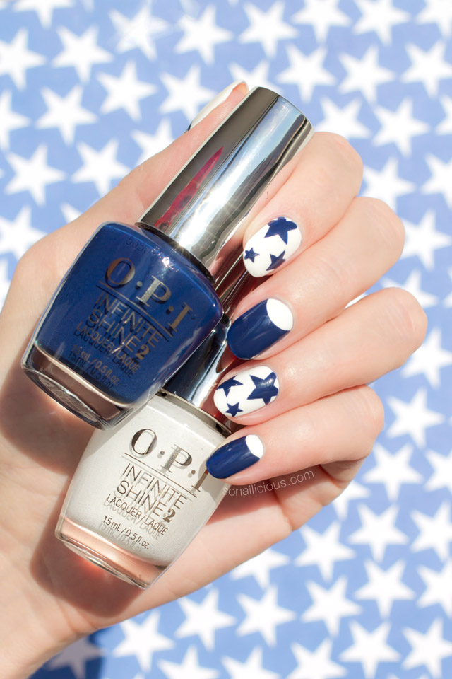 White and Blue Nails, Star Nails