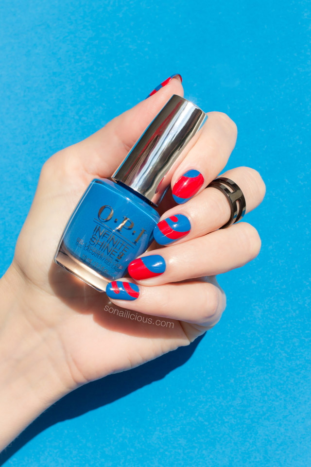blue and red nails, OPI Super Trop-i-cal-i-fiji-istic
