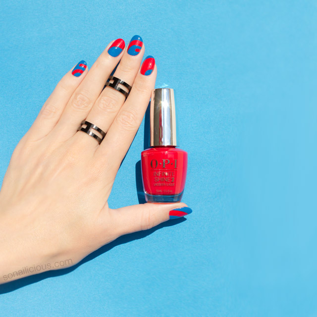blue and red nails, OPI Unequivocally Crimson