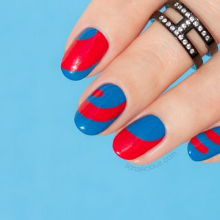 blue and red nails, abstract nail art, 10