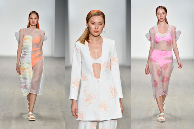 karla spetic summer 2018, pink and white dress
