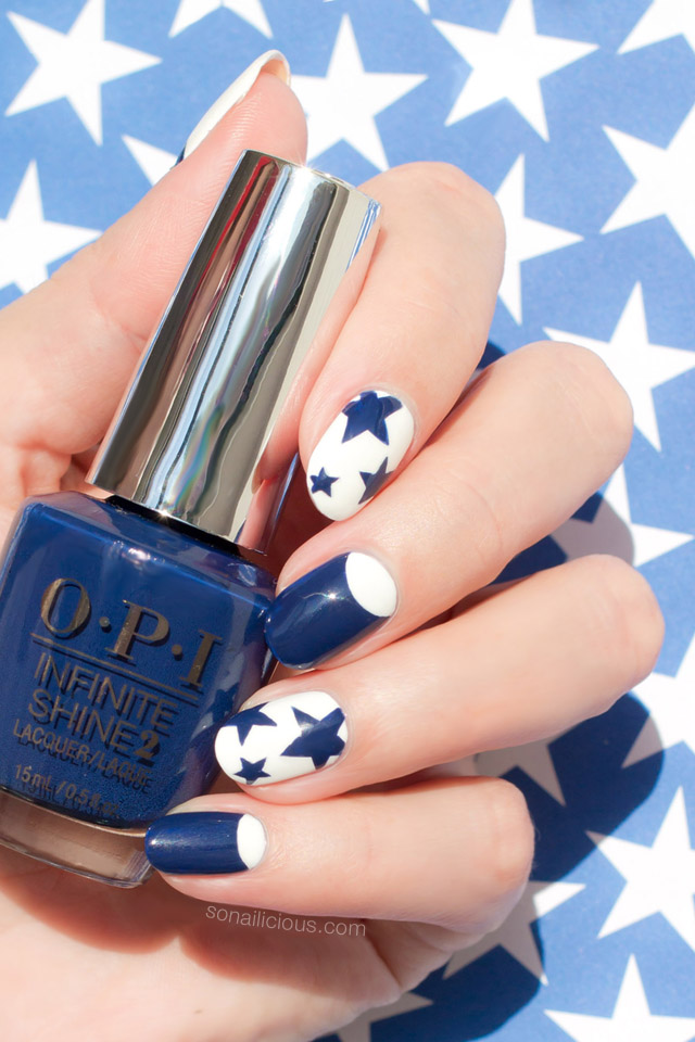 4th of july nails, opi get ryd-of-thym blues swatch