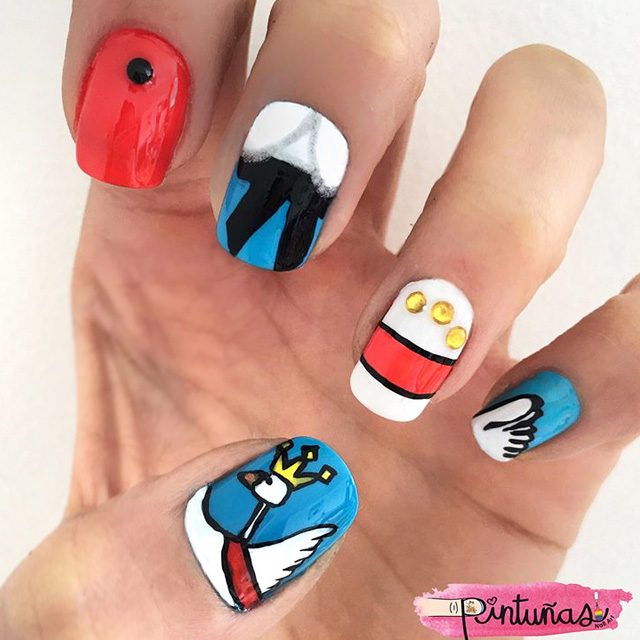 Cartoon pattern nails by @Pintunas, inspired by Macgraw