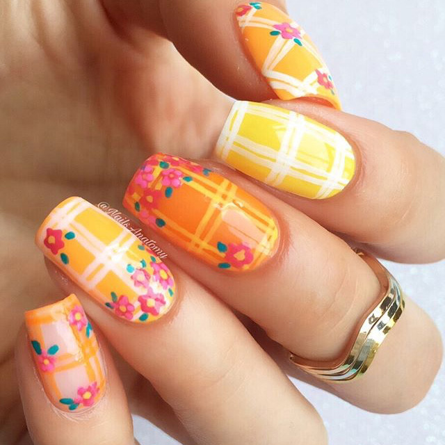 Floral plaid nail design by @nailsanatomy, inspired by Roopa Pemmaraju