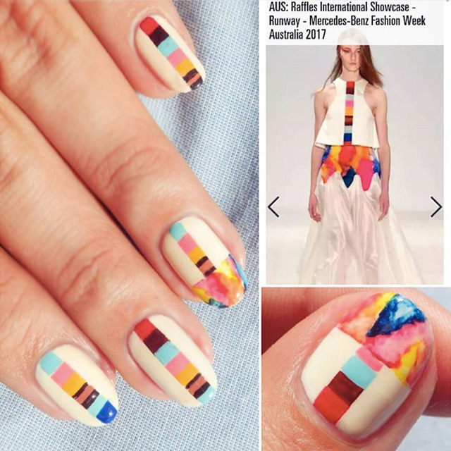 Geometric nails by @ilyavioleta, inspired by Raffles show