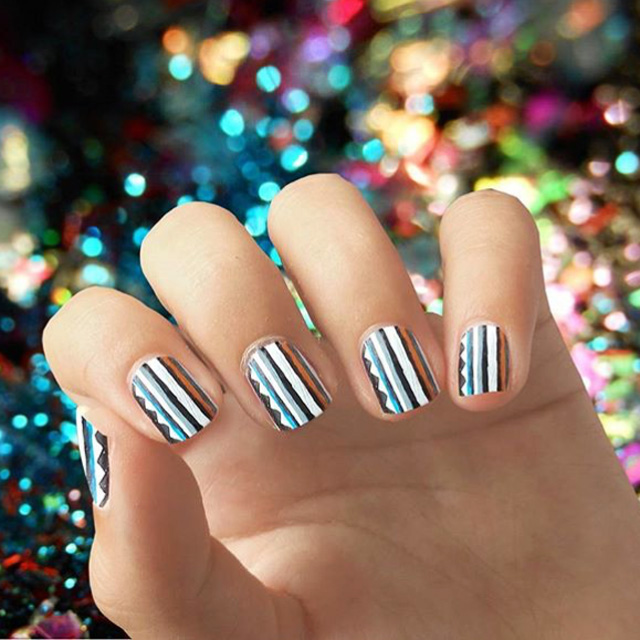 Stripey nails by @irrationail, inspired by Sass and Bide
