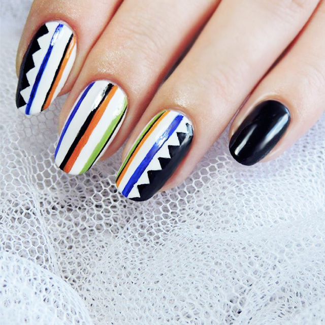 Stripey nails by @totallynailedit, inspired by Sass and Bide