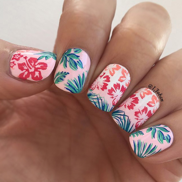 Tropical nails by @ljoban, inspired by Roopa Pemmaraju