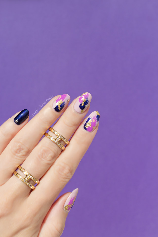 abstract nail art, purple nails