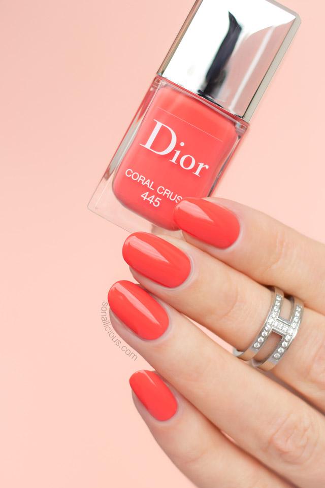 dior coral crush swatches, coral nail polish