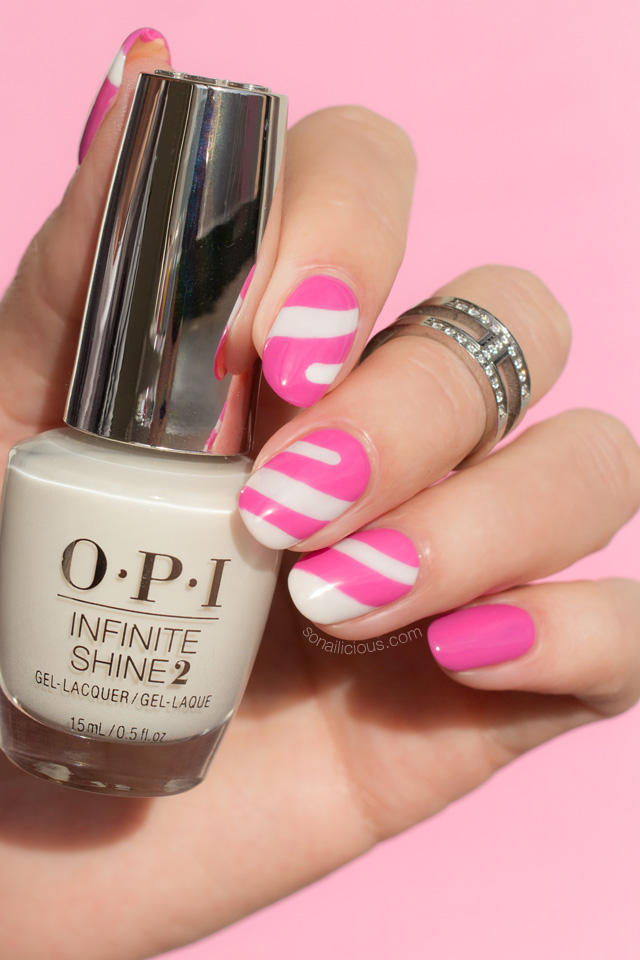 pink and white nails, opi funny bunny
