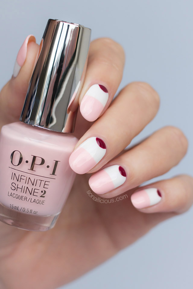 pink and white nails, opi infinite shine pretty pink perseveres