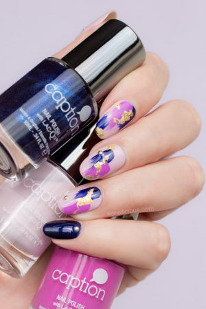 purple nail design, caption polish
