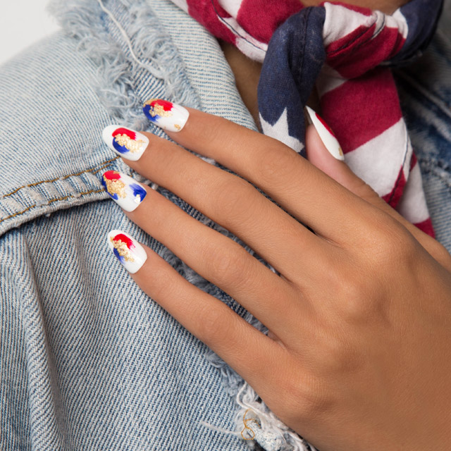 4th of july nails, blue and red nails with gold