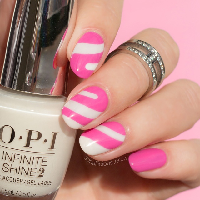 Candy nails with OPI Two Timing the Zones