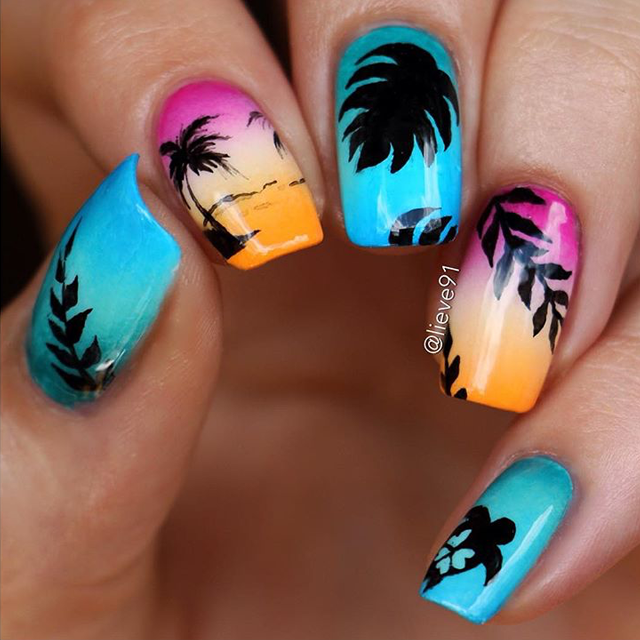 Sunset nails by @lieve91