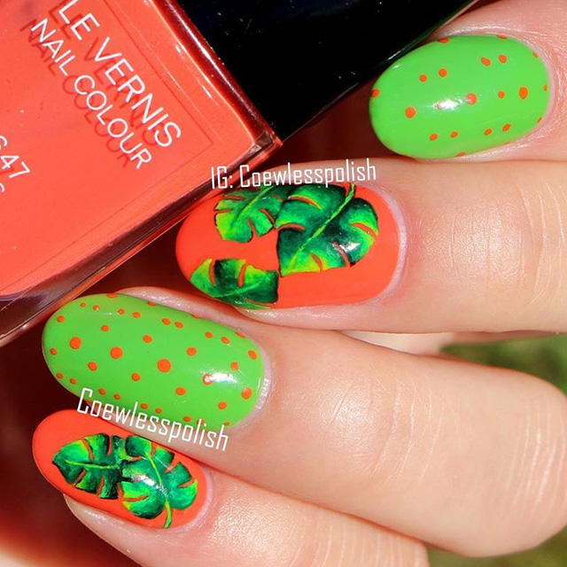 Tropical palm nails by @coewlesspolish