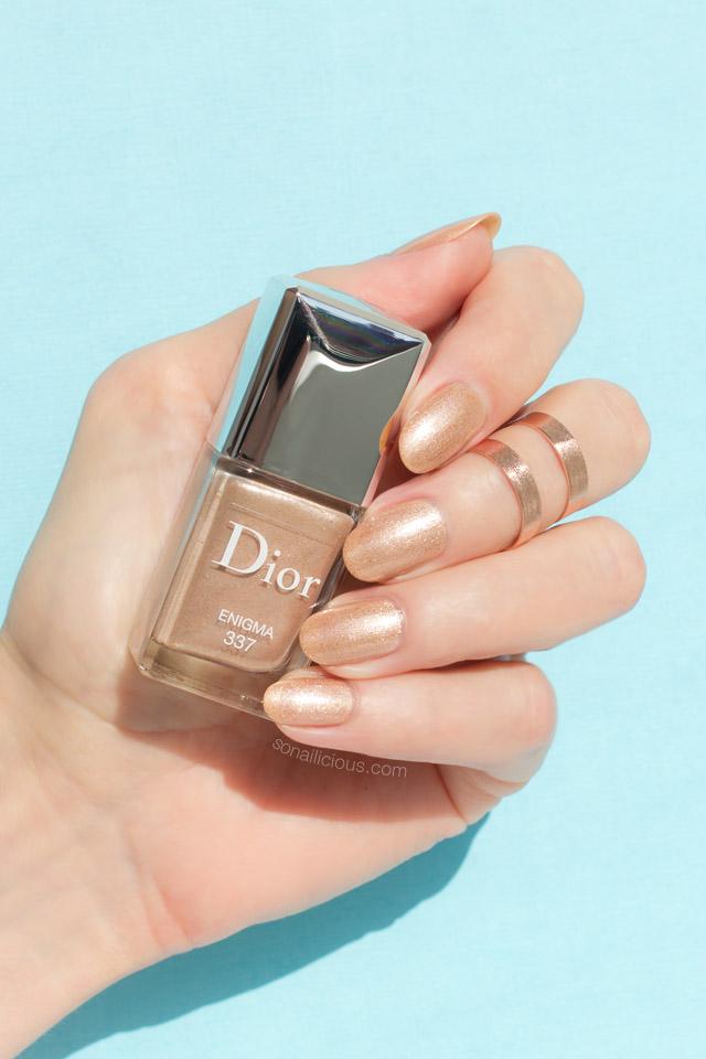 dior enigma swatch, gold nail polish