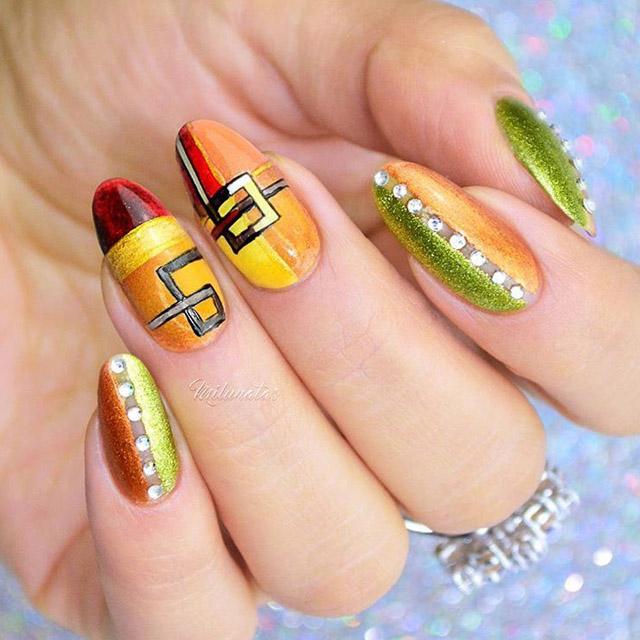 Abstract Fall nail design by @milunatas
