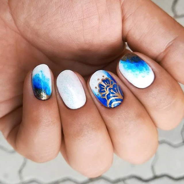 Frosty Fall nail art by @elza_inaleafhouse