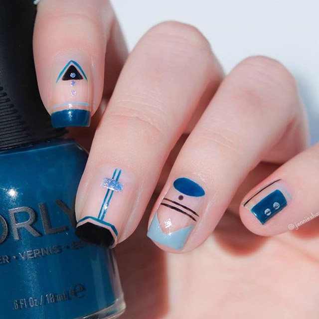 Autumn Blues nail design by @jennieshaw