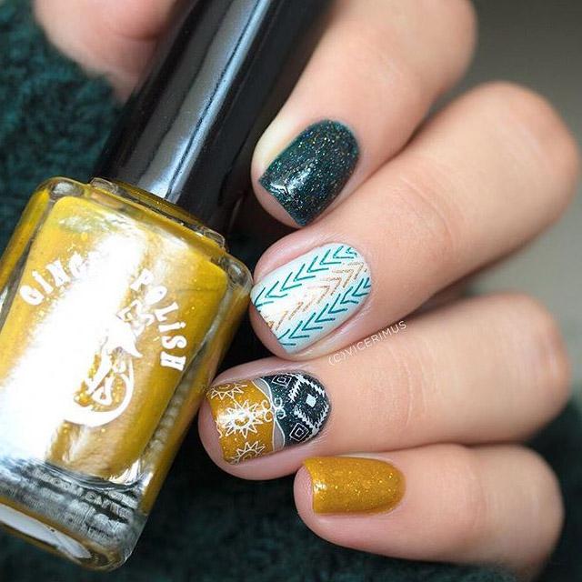 Fall print nails by @vicerimus