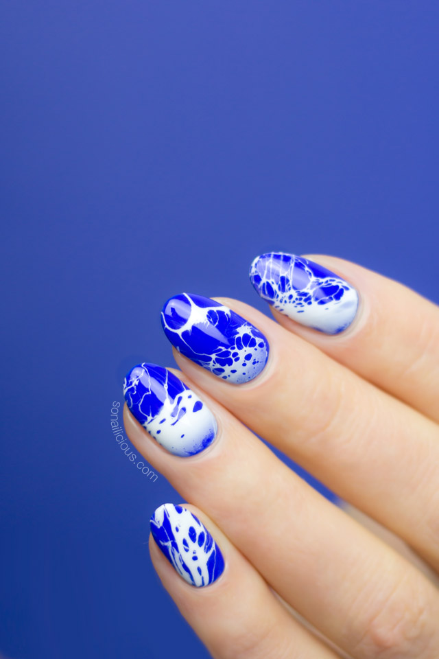 bright blue ocean nails