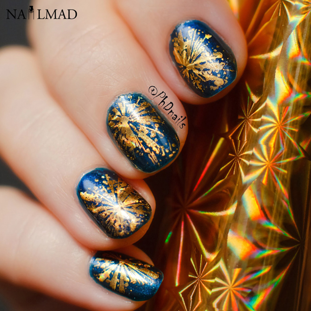 Holiday nail art, gold nail foil