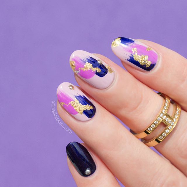 abstract nail art, gold nail foil