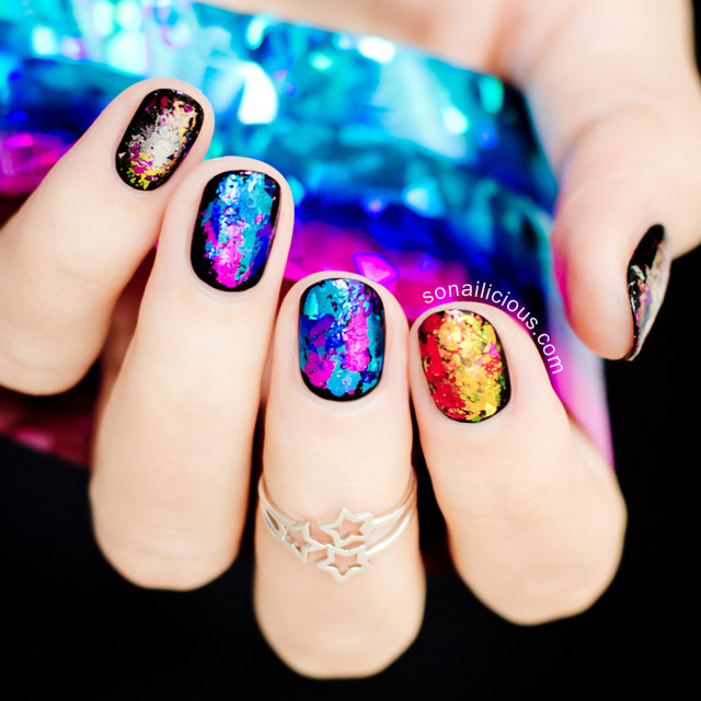 rainbow nails with nail foil