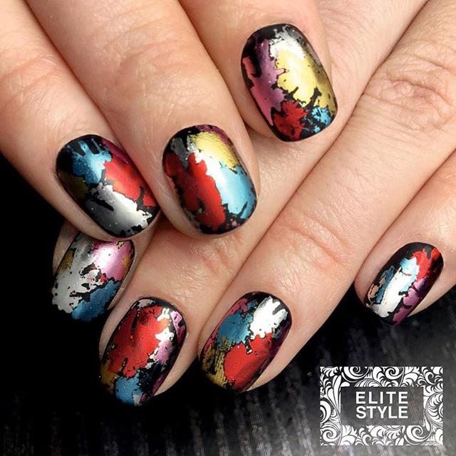 matte nails, rainbow foil