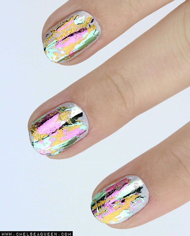 oil spill nails, nail foil
