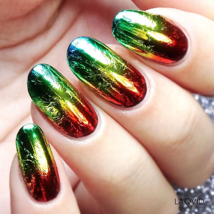 rainbow foil nails