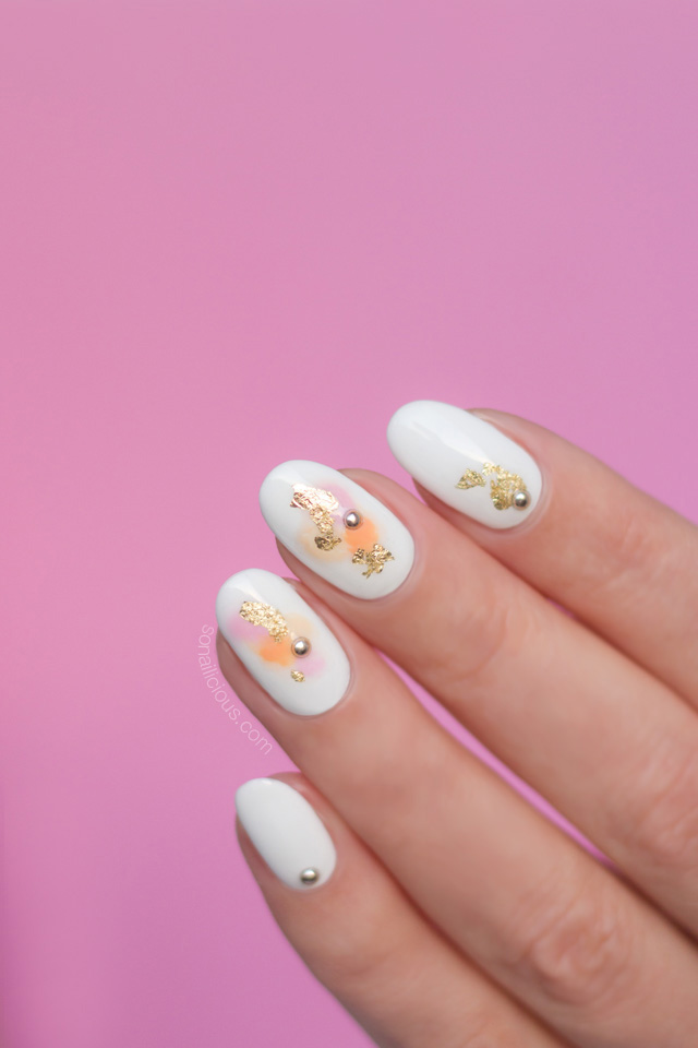 watercolor nails, spring nails