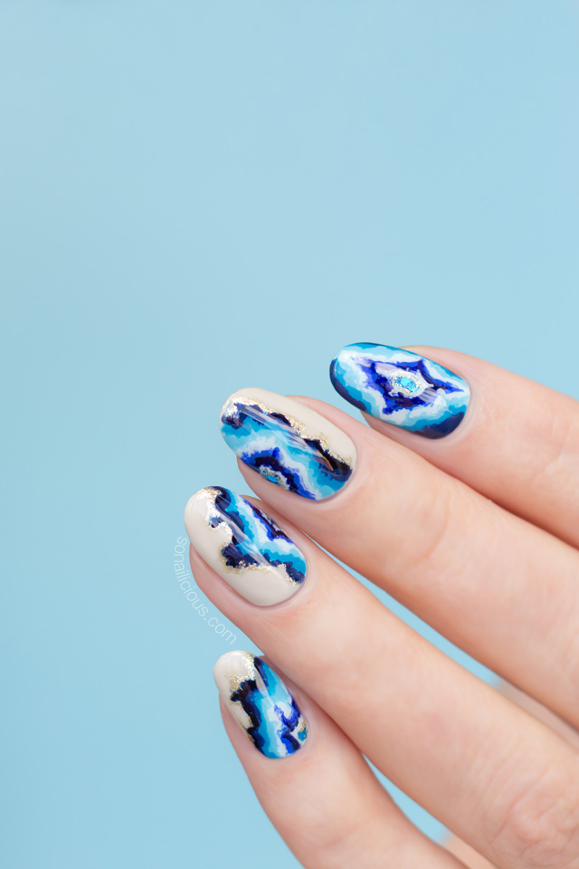 blue geode nails