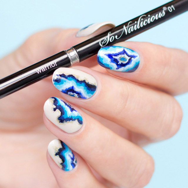 sonailicious nail art brush, blue geode nails