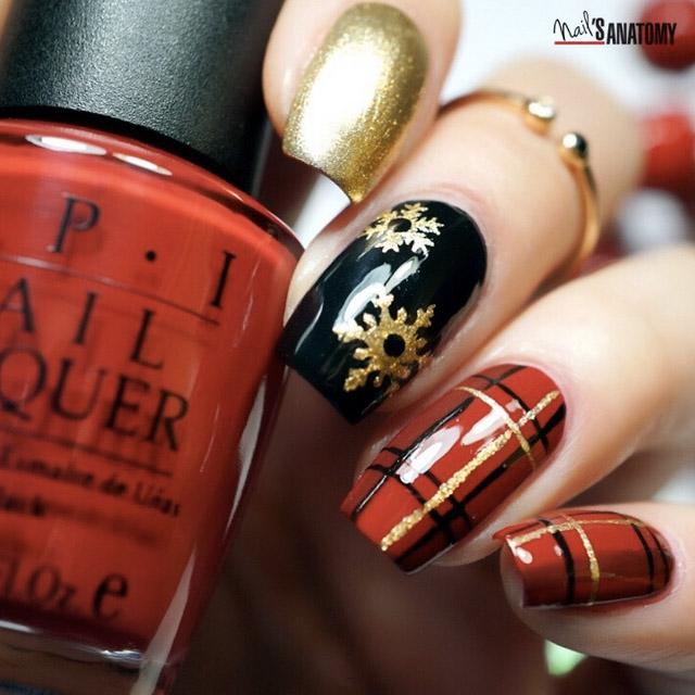 Christmas Plaid nails by @nailsanatomy