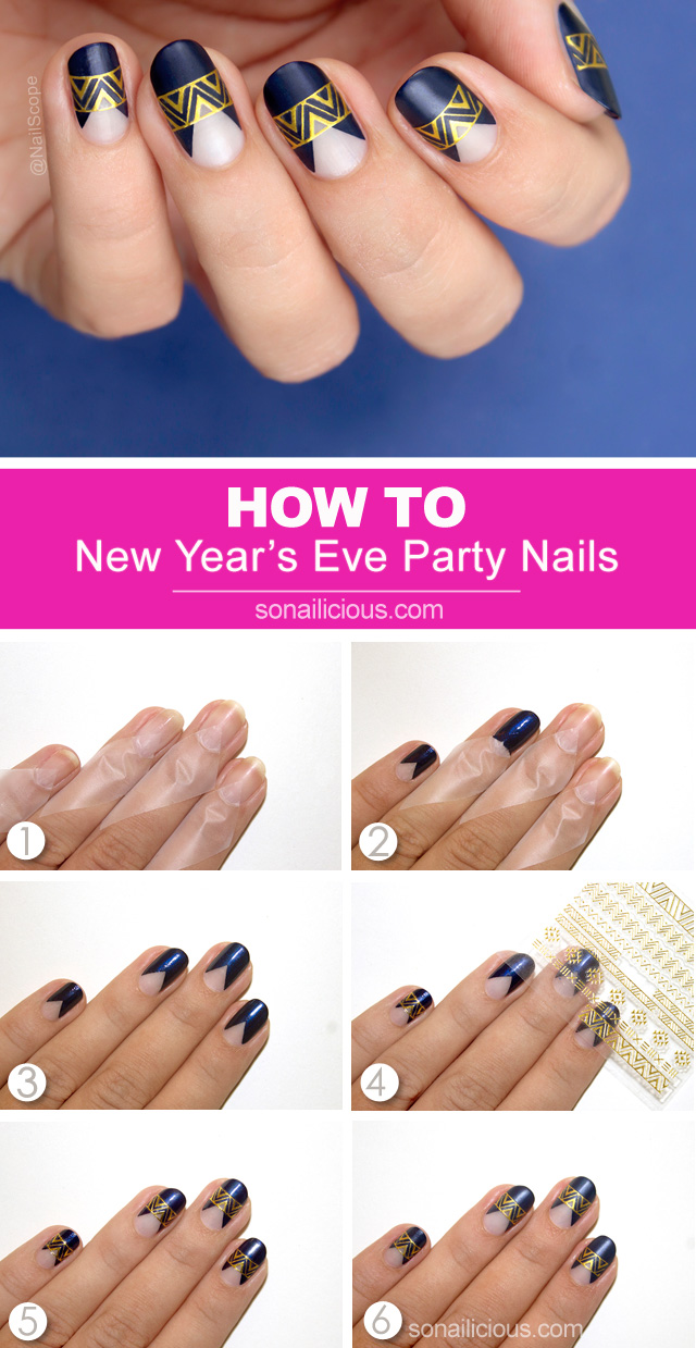 new years nails, party nails how to